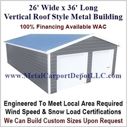 26' x 36' Vertical Roof Metal Building