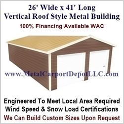26' x 41' Vertical Roof Metal Building