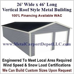26' x 46' Vertical Roof Metal Building