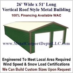 26' x 51' Vertical Roof Metal Building