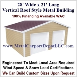 28' x 21' Vertical Roof Metal Building