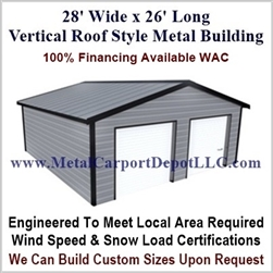 28' x 26' Vertical Roof Metal Building
