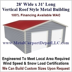 28' x 31' Vertical Roof Metal Building