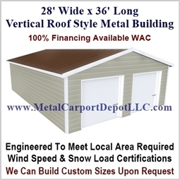 28' x 36' Vertical Roof Metal Building