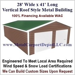 28' x 41' Vertical Roof Metal Building
