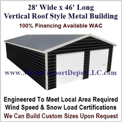 28' x 46' Vertical Roof Metal Building