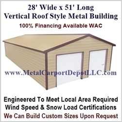 28' x 51' Vertical Roof Metal Building