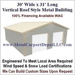 30' x 31' Vertical Roof Metal Building