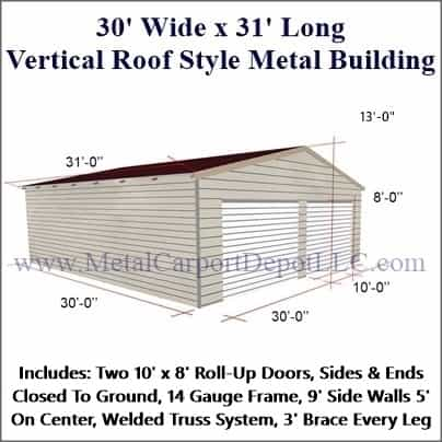 30 X 31 Vertical Roof Style Metal Building Free