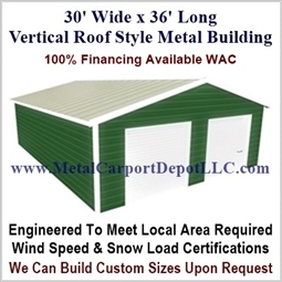 30' x 36' Vertical Roof Metal Building