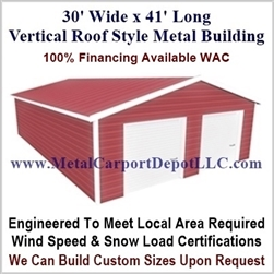 30' x 41' Vertical Roof Metal Building