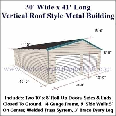30 X 41 Vertical Roof Style Metal Building Free