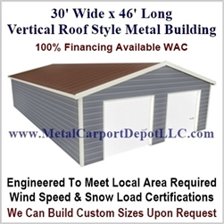 30' x 46' Vertical Roof Metal Building