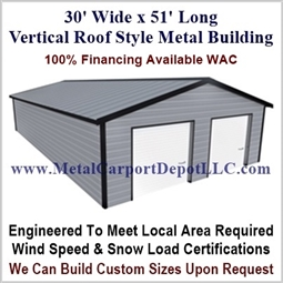 30' x 51' Vertical Roof Metal Building