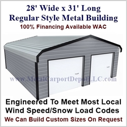 28'x31'x9' Regular Style Metal Building