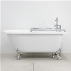 "<span class=""newbadge"">Clearance Sale!</span>ACFL65FPK 65"" Extra Wide Classic Clawfoot Tub and Faucet Package with Grab Bars"
