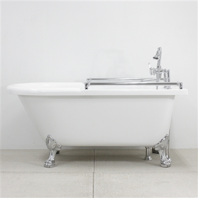 "<br>ACFL65FPK 65"" Extra Wide Classic Clawfoot Tub Package with Grab Bars"