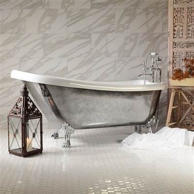 "<br>Aged Chrome Exterior 'SEBASTIANO67C' 67"" CoreAcryl Acrylic Single Slipper Clawfoot Tub and Faucet Package"