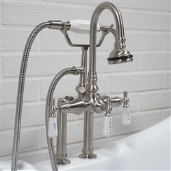 Edwardian Deck Mounted Tub Filler in Brushed Nickel
