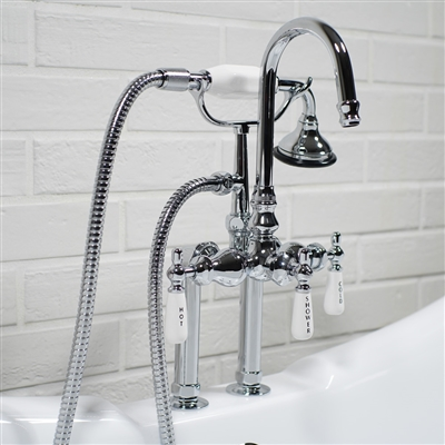 Edwardian Deck Mounted Tub Filler in Chrome