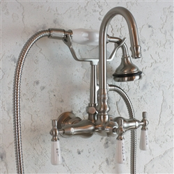 "<span class=""newbadge"">Sale!</span>EF10TWMBN Edwardian Wall Mount Tub Faucet with Handheld Shower in BRUSHED NICKEL"
