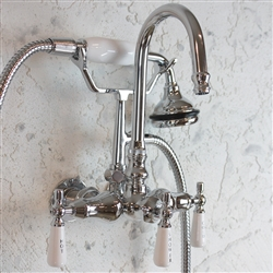 "<span class=""newbadge"">Sale!</span>EF10TWMCHR Edwardian Wall Mount Tub Faucet with Handheld Shower in CHROME"