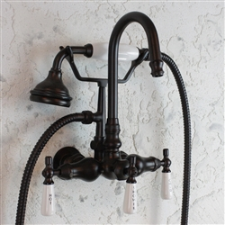 <br>EF10TWMORB Edwardian Wall Mount Tub Faucet with Handheld Shower in Oil Rubbed Bronze