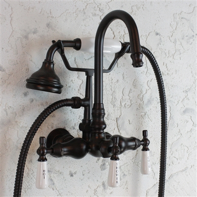 "<span class=""newbadge"">Sale!</span>EF10TWMORB Edwardian Wall Mount Tub Faucet with Handheld Shower in Oil Rubbed Bronze"