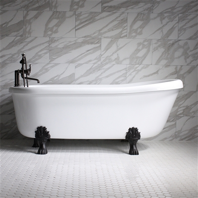 "<br>Empress EM67N 67"" Hydromassage Water and Hot Air Jetted Single Slipper Clawfoot Tub Package with Accessories"