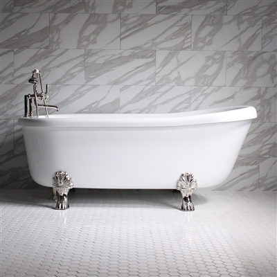 "<br>Empress EM73N 73"" Hydromassage Water and Air Jetted Single Slipper Clawfoot Tub Package with Accessories"