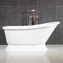 LUXWIDE Agostino 59in White Pedestal Tub