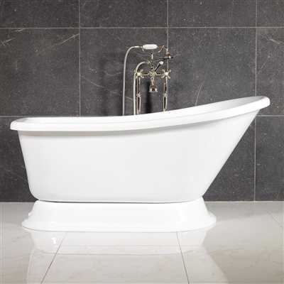 "LUXWIDE 'Agostino' 59"" White CoreAcryl Acrylic Single Slipper Pedestal Tub Package"