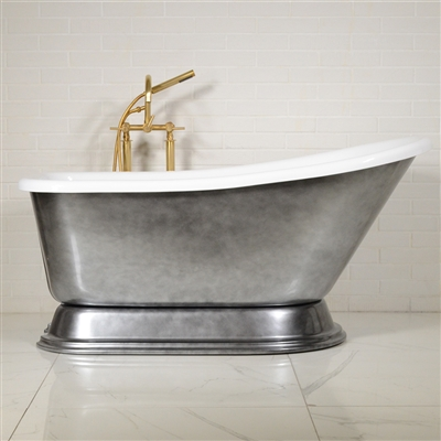 "EXTRA WIDE 'Agostino-ACH' 59"" White CoreAcryl Acrylic Single Slipper Pedestal Tub Package with an Aged Chrome Exterior"