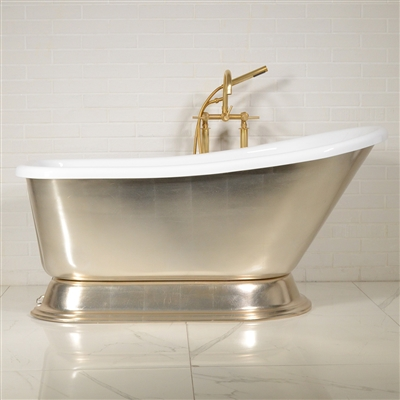LUXWIDE Agostino PEG 59in Silver Pedestal Tub