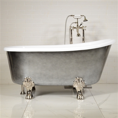 "LUXWIDE 'Athena-ACHCL54' 54"" WHITE CoreAcryl Acrylic Swedish Slipper Clawfoot Tub Package with an Aged Chrome Exterior"