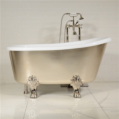 "LUXWIDE 'Athena-USLCL58' 58"" WHITE CoreAcryl Acrylic Swedish Slipper Clawfoot Tub Package with an Umber Washed Silver Leaf Exterior"
