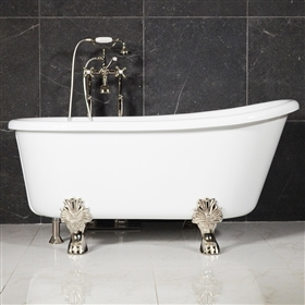 "LUXWIDE 'Athena-WH54' 54"" WHITE CoreAcryl Acrylic Swedish Slipper Clawfoot Tub Package"