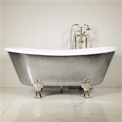 "LUXWIDE 'Calypso-ACH59' 59"" WHITE CoreAcryl Acrylic French Bateau Clawfoot Tub Package with an Aged Chrome Exterior"