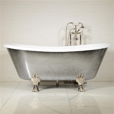 "LUXWIDE 'Calypso-ACH73' 73"" WHITE CoreAcryl Acrylic French Bateau Clawfoot Tub Package with an Aged Chrome Exterior"