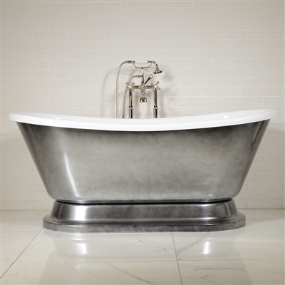 "EXTRA WIDE 'Calypso-ACHPD73' 73"" WHITE CoreAcryl Acrylic French Bateau Pedestal Tub Package with an Aged Chrome Exterior"
