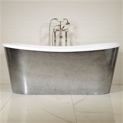 "LUXWIDE 'Calypso-ACHSK59' 59"" WHITE CoreAcryl Acrylic French Bateau Skirted Tub Package with an Aged Chrome Exterior"
