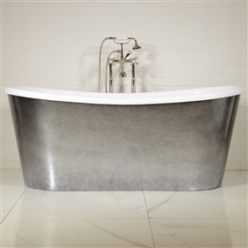 "LUXWIDE 'Calypso-ACHSK67' 67"" WHITE CoreAcryl Acrylic French Bateau Skirted Tub Package with an Aged Chrome Exterior"