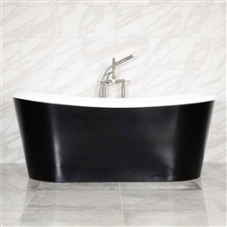 "LUXWIDE 'Calypso-BLKSK59' 59"" WHITE CoreAcryl Acrylic French Bateau Skirted Tub Package with a Flat Black Exterior"