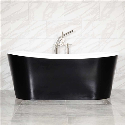 "LUXWIDE 'Calypso-BLKSK67' 67"" CoreAcryl Acrylic French Bateau Skirted Tub Package Flat Black Exterior"