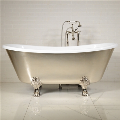"LUXWIDE 'Calypso-USL67' 67"" WHITE CoreAcryl Acrylic French Bateau Clawfoot Tub Package with an Umber Wash Sliver Leaf Exterior"