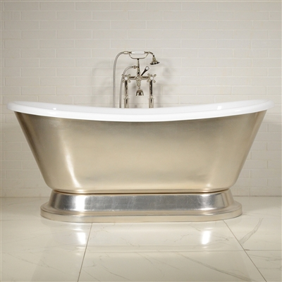 "LUXWIDE 'Calypso-USLPD59' 59"" WHITE CoreAcryl Acrylic French Bateau Pedestal Tub Package with an Umber Wash Sliver Leaf Exterior"