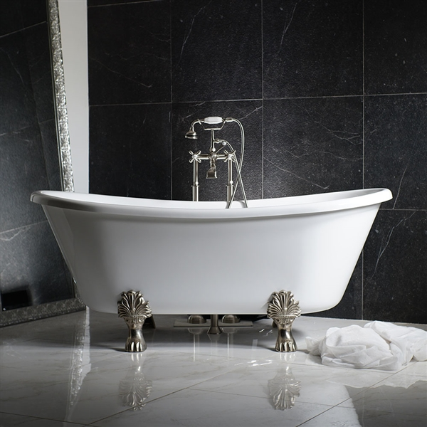 "LUXWIDE 'Calypso-WH67' 67"" WHITE CoreAcryl Acrylic French Bateau Clawfoot Tub Package"