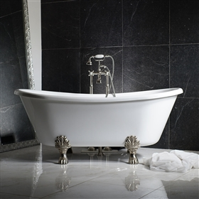 "LUXWIDE 'Calypso-WH73' 73"" WHITE CoreAcryl Acrylic French Bateau Clawfoot Tub Package"
