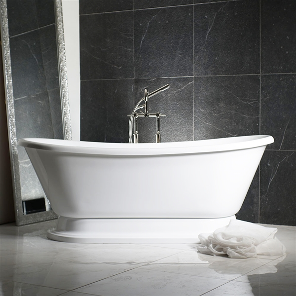 "EXTRA WIDE 'Calypso-WHPD59' 59"" WHITE CoreAcryl Acrylic French Bateau Pedestal Tub Package"