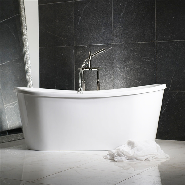 "EXTRA WIDE 'Calypso-WHSK73' 73"" WHITE CoreAcryl Acrylic French Bateau Skirted Tub Package"